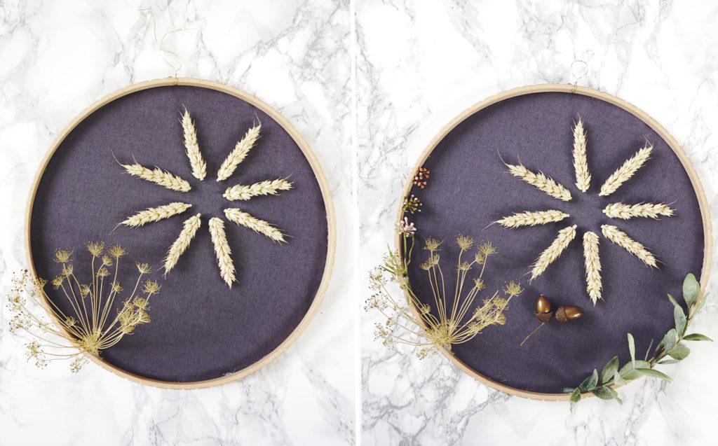 Webrahmen mit Naturmaterialien dekorieren
