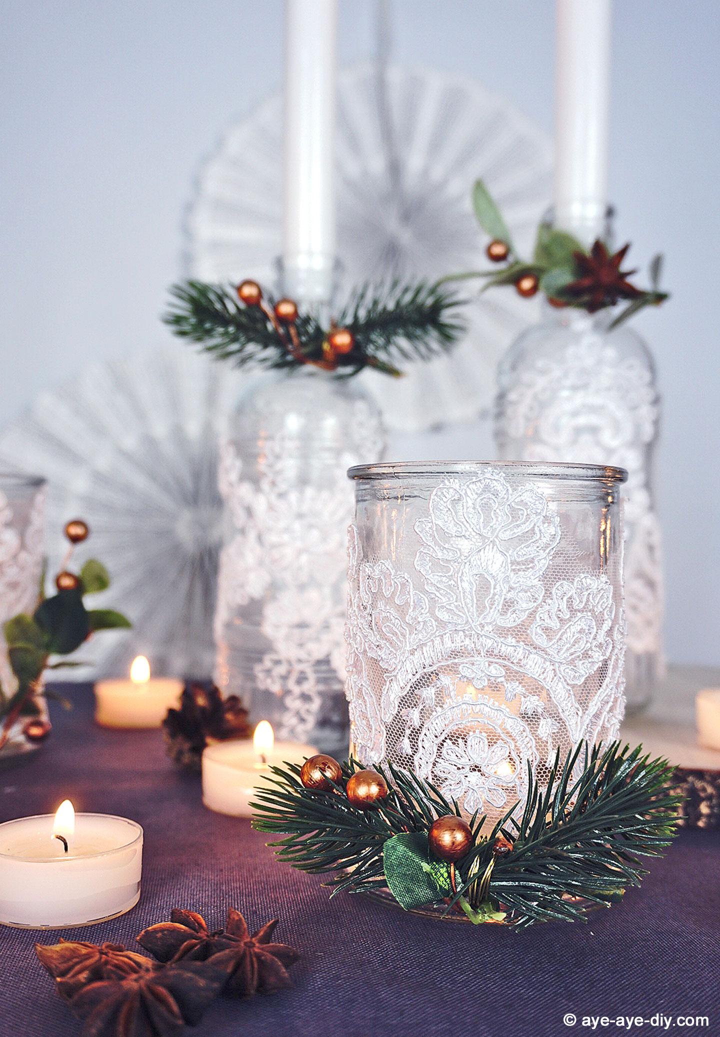 DIY Tischdeko zur Winterhochzeit: festliche Teelichter basteln