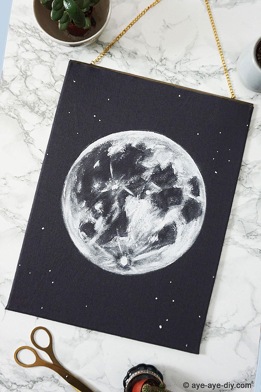 "DIY Mond Bild – Wandbild ""Moon"" selber machen"