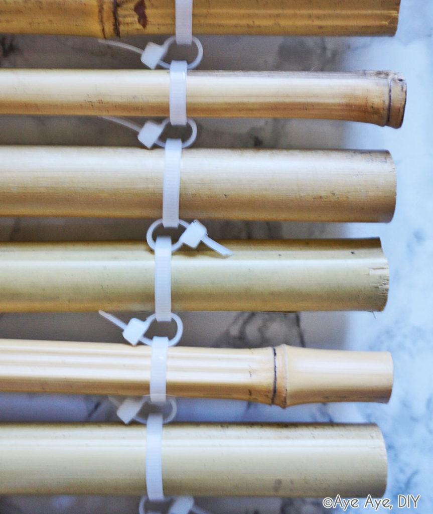 Bambus Stäbe mit Kabelbindern verbinden