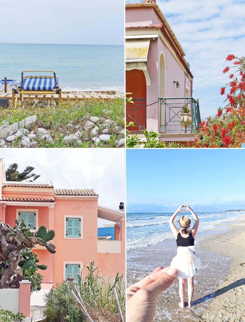 Korfu Sommerurlaub bunte Häuser und Strand