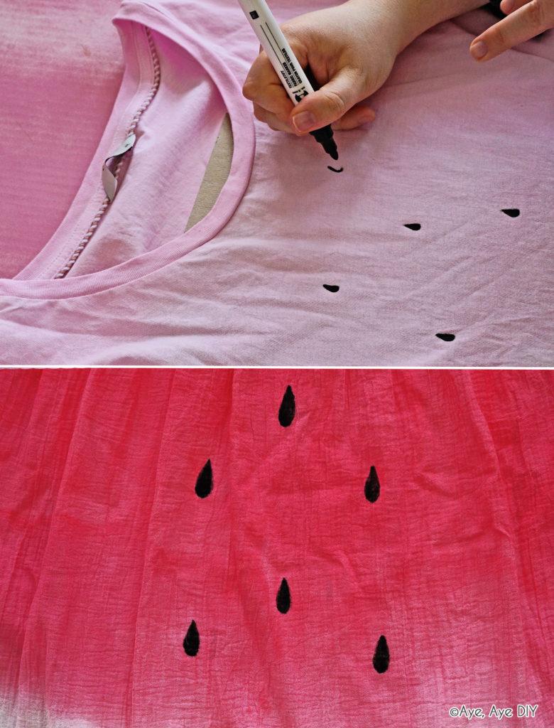 Melonenkerne aufmalen Batik DIY