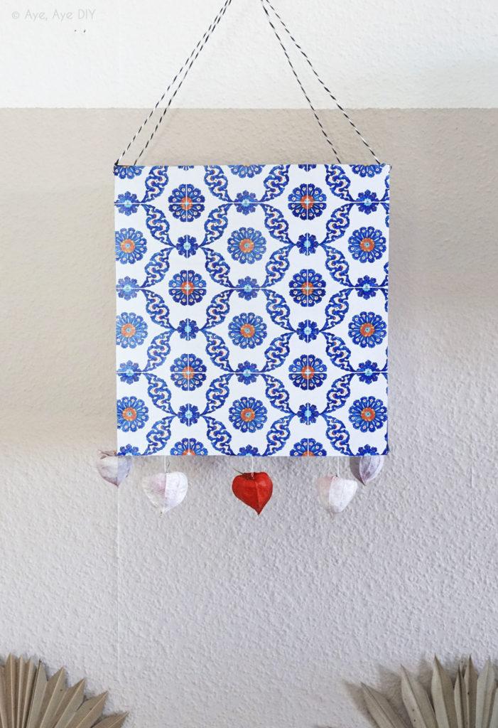 Boho Laterne selber basteln DIY Deko maritim Azulejos