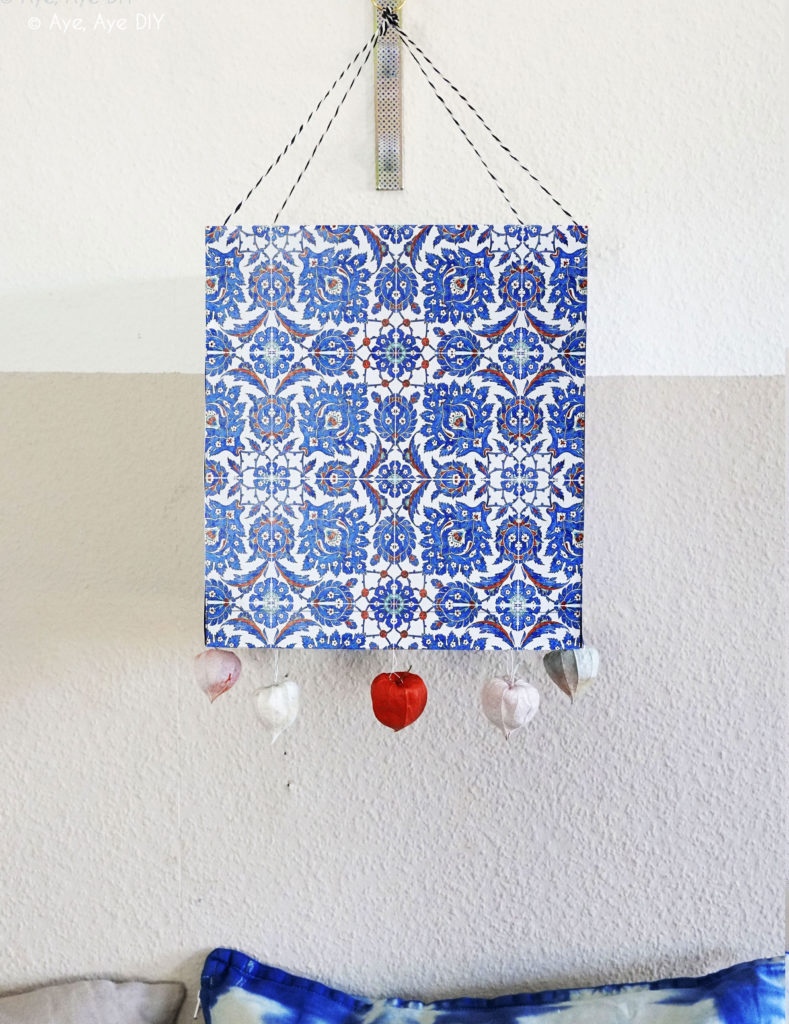 DIY Deko Laterne basteln Azulejos Portugiesische Muster Herbst Deko