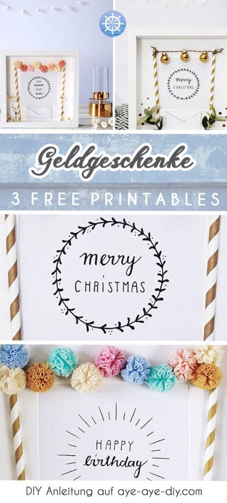 Geldgeschenk Geburtstag Hochzeit Weihnachten DIY Geschenk fü jeden Anlass kostenlose Druckvolage Free Printable