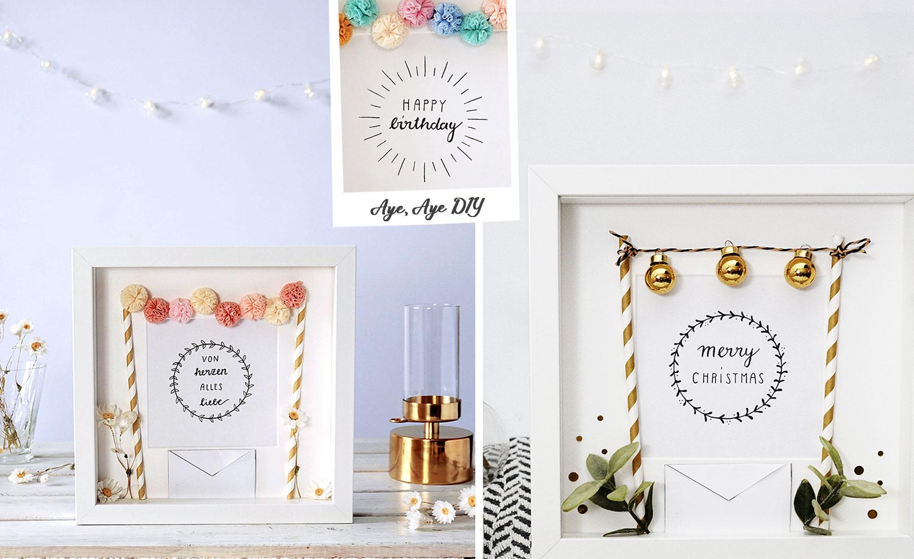 DIY Geldgeschenk für Weihnachten, Geburtstag & Hochzeit: 3 Printables zum Ausdrucken
