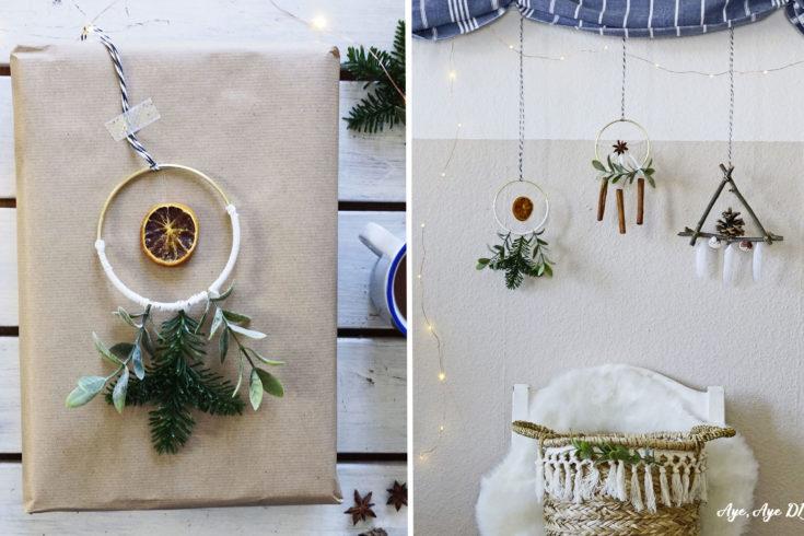 skandinavische Weihnachtsdeko basteln Geschenke verpacken Boho Weihnachtsdeko Geschenkanhänger scandi Traumfänger hygge