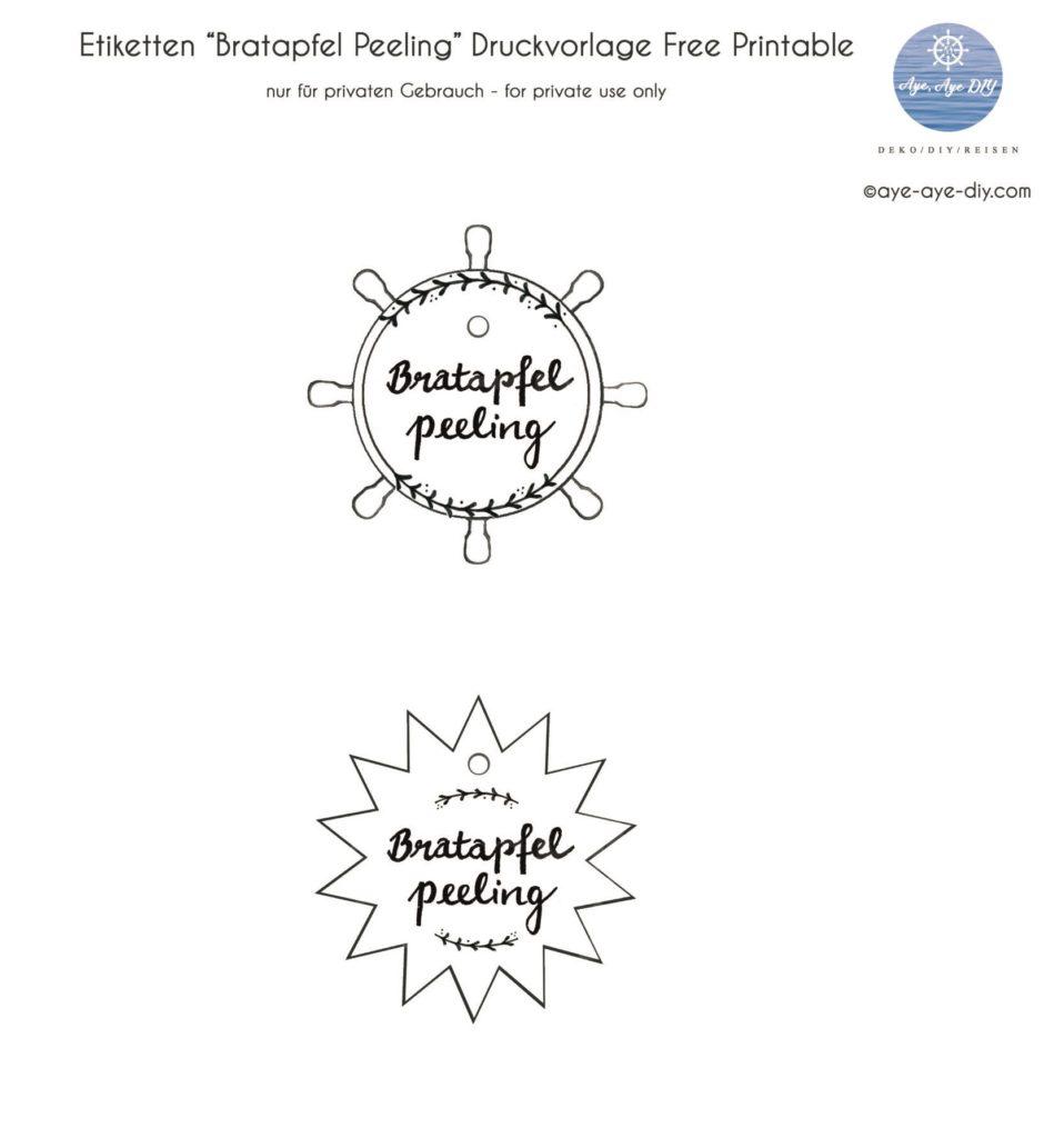 Etiketten Druckvorlage für Peeling zum Ausdrucken