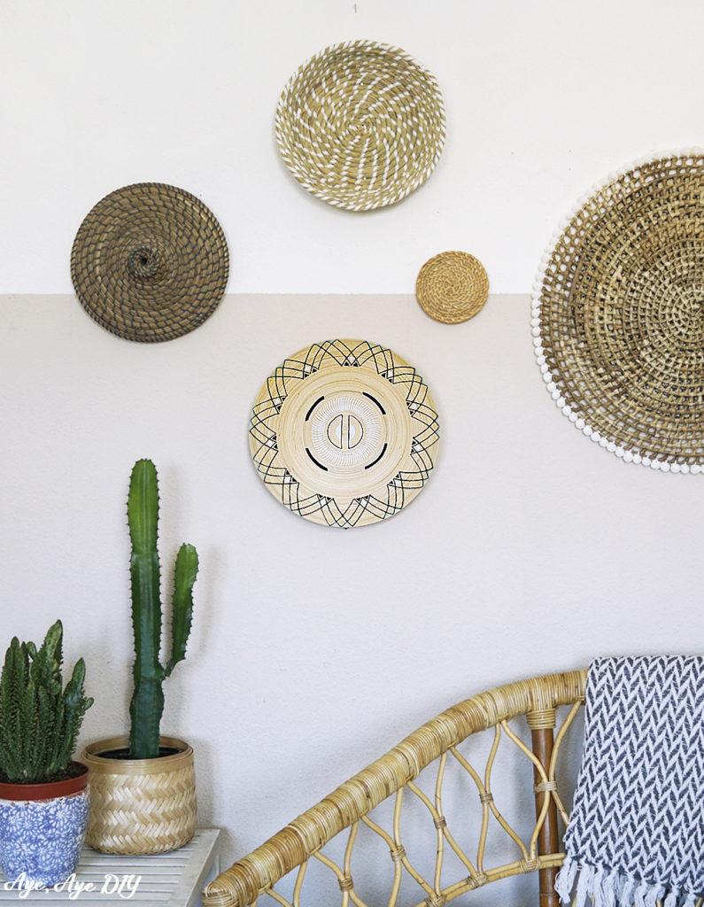 DIY Deko Boho Wand mit Körben und Bambus Schale Boho Style