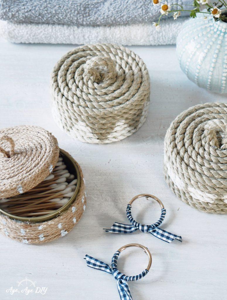 Boho Körbe DIY: Upcycling aus alten Dosen und Seil Schmuckdose Aufbewahrung Badezimmer Idee