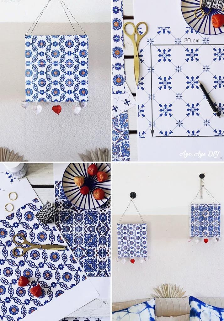 Portugiesische DIY Deko Laterne Azulejos Muster