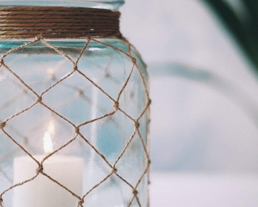 Makramee Windlicht im Fischernetz Look selber machen