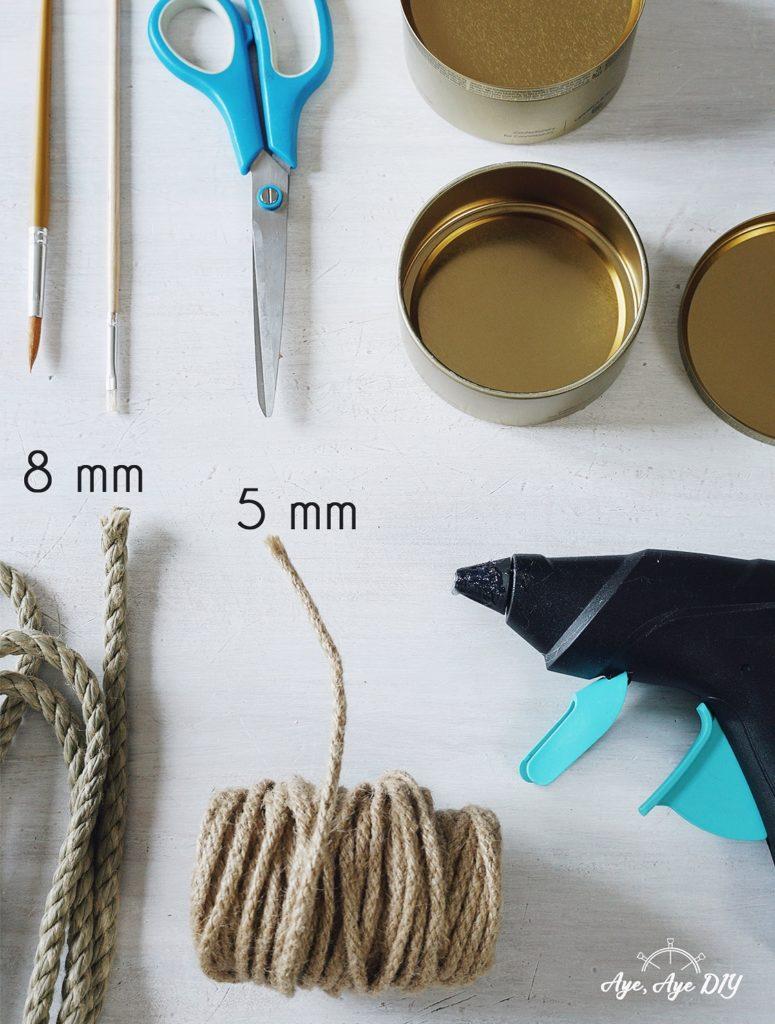 Materialien Upcycling mit Dosen und Seil