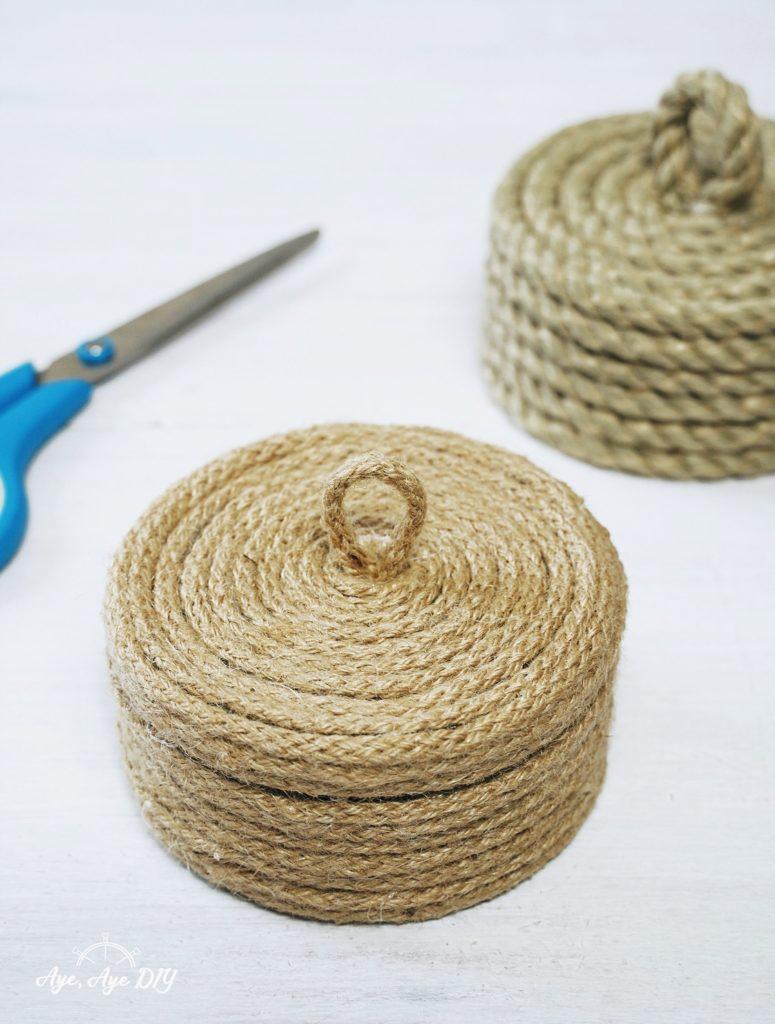 Schritt 4: zerowaste Korb Dosen mit Seil umwickeln Upcycling DIY Anleitung Boho Korb