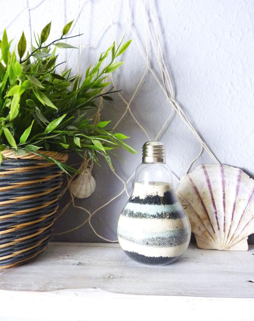 Sandbild Maritime Deko Glühbirnen Vase DIY