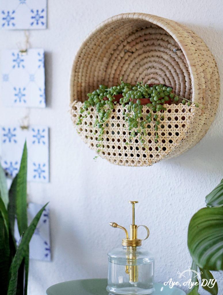 Boho Wandkorb für Pflanzen aus Wiener Geflecht DIY Urban Jungle Idee