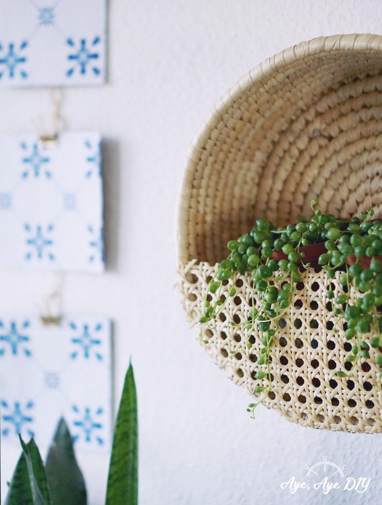 Wandkorb Pflanzen Wiener Geflecht Möbel DIY Erbsenschnur