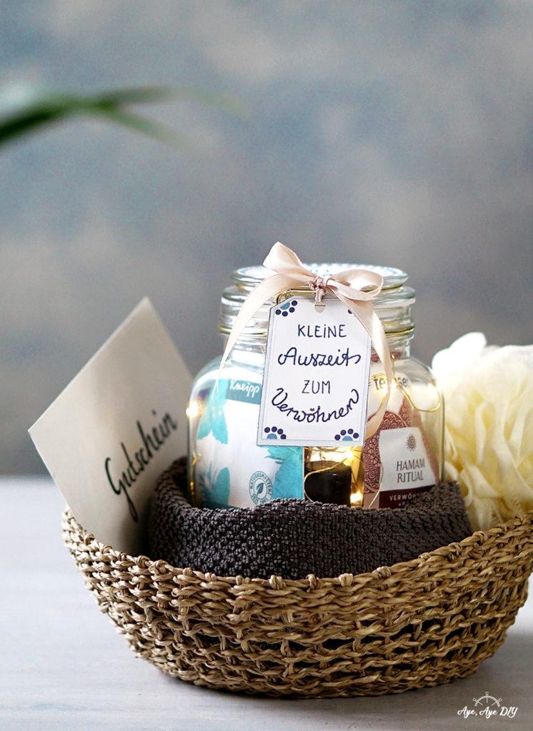 Wellness Im Glas Diy Geschenk Mit Gutschein Basteln Gratis Etiketten Aye Aye Diy