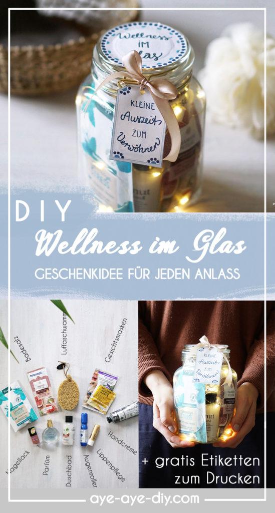 Pinterest Pin: Merke dir diese Geschenkidee Wellness im Glas auf Pinterest
