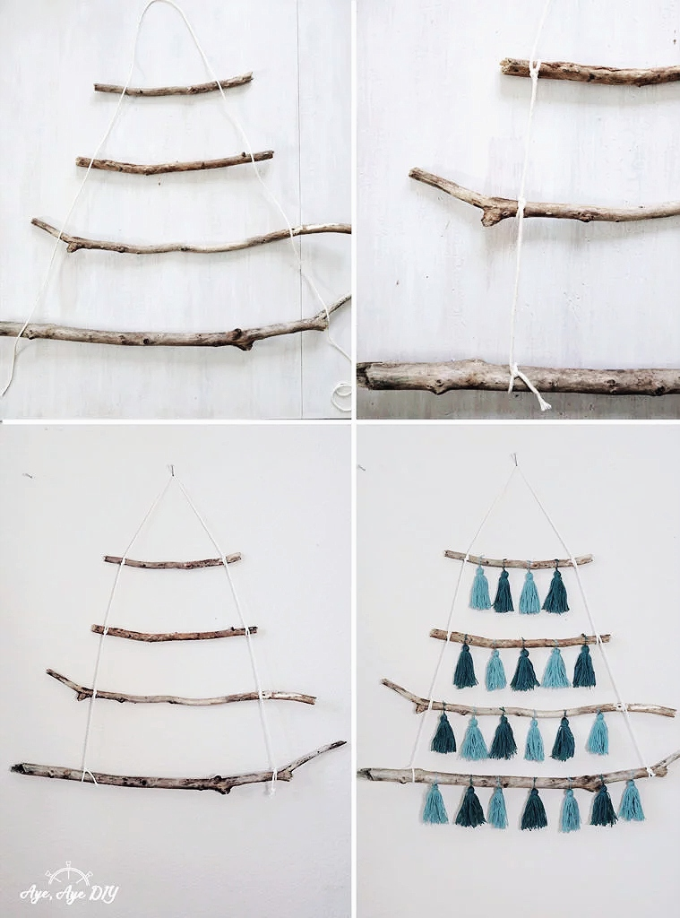 Weihnachtsbaum aus Ästen basteln Anleitung