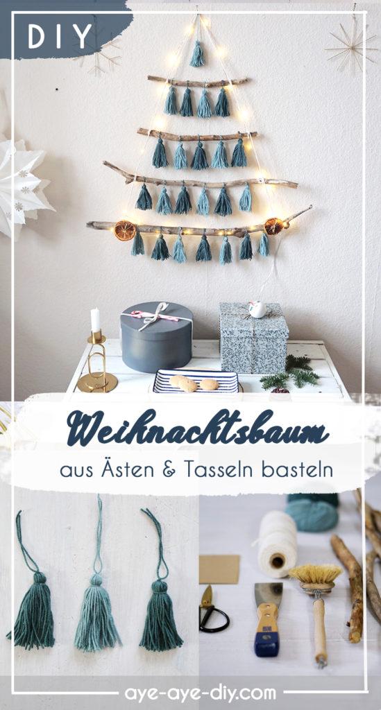 Pinterest Pin: Weihnachtsbaum aus Ästen basteln mit Tasseln