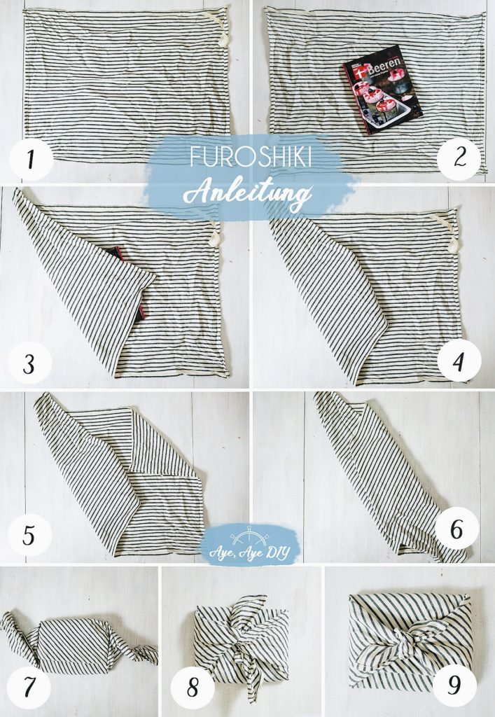 Furoshiki Anleitung Geschenke im Tuch einwickeln Falttechnik