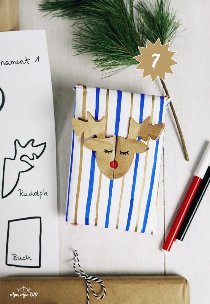 Geschenke verpacken mit 3D Rudolph Rentier