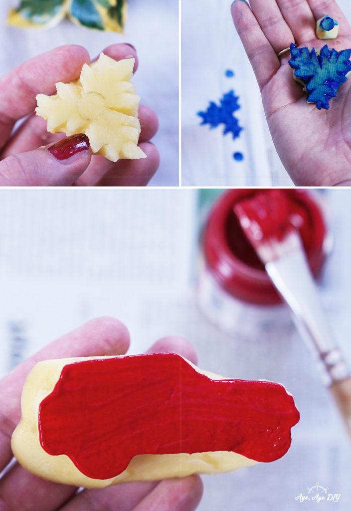 Kartoffeldruck Stempel selber machen und schnitzen + Textilfarbe