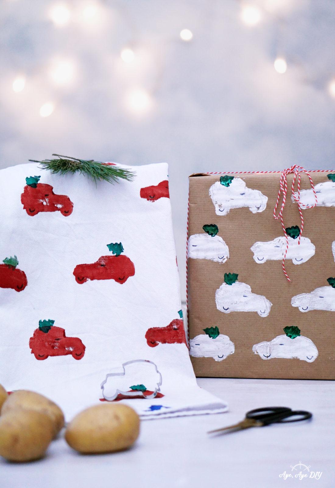 Kartoffeldruck auf Stoff und Papier: Geschenke kreativ verpacken