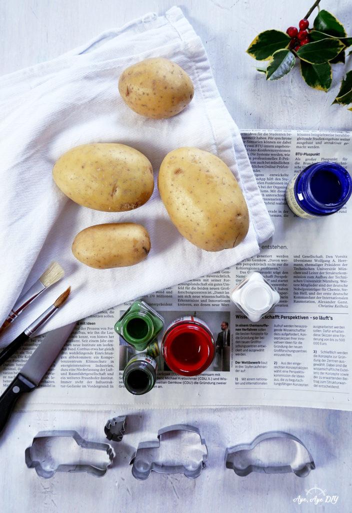 Kartoffeldruck Materialien Textilfarbe