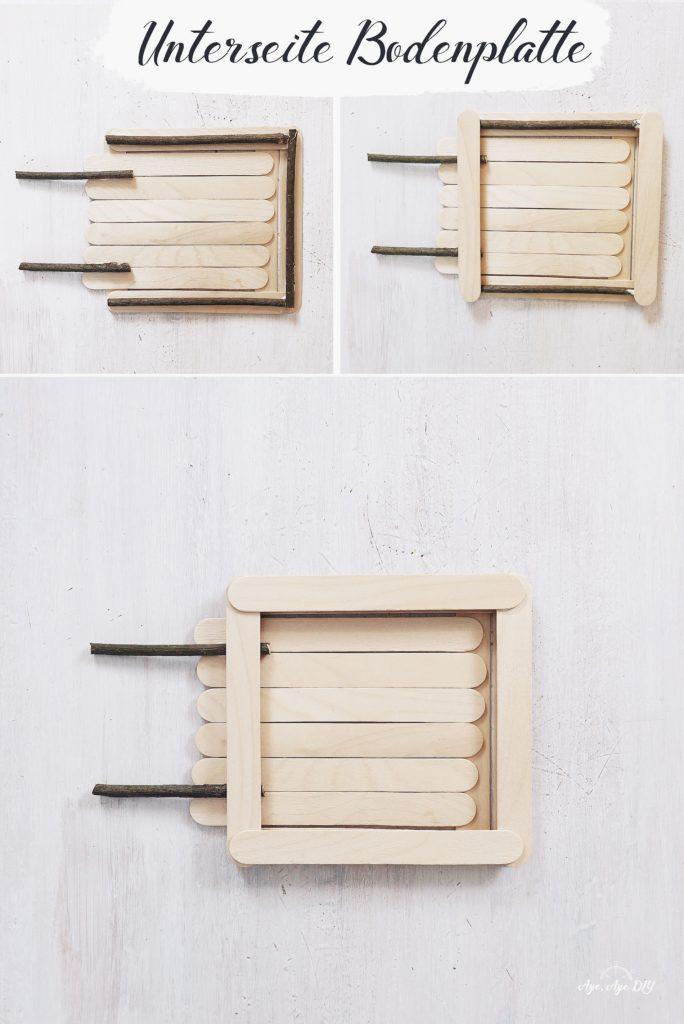 Vogelhaus bauen Anleitung einfach: Unterseite der Bodenplatte bauen