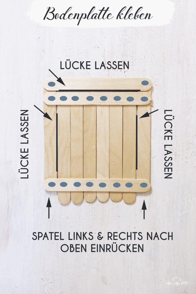 Vogelhaus bauen Anleitung einfach: Bodenplatte kleben