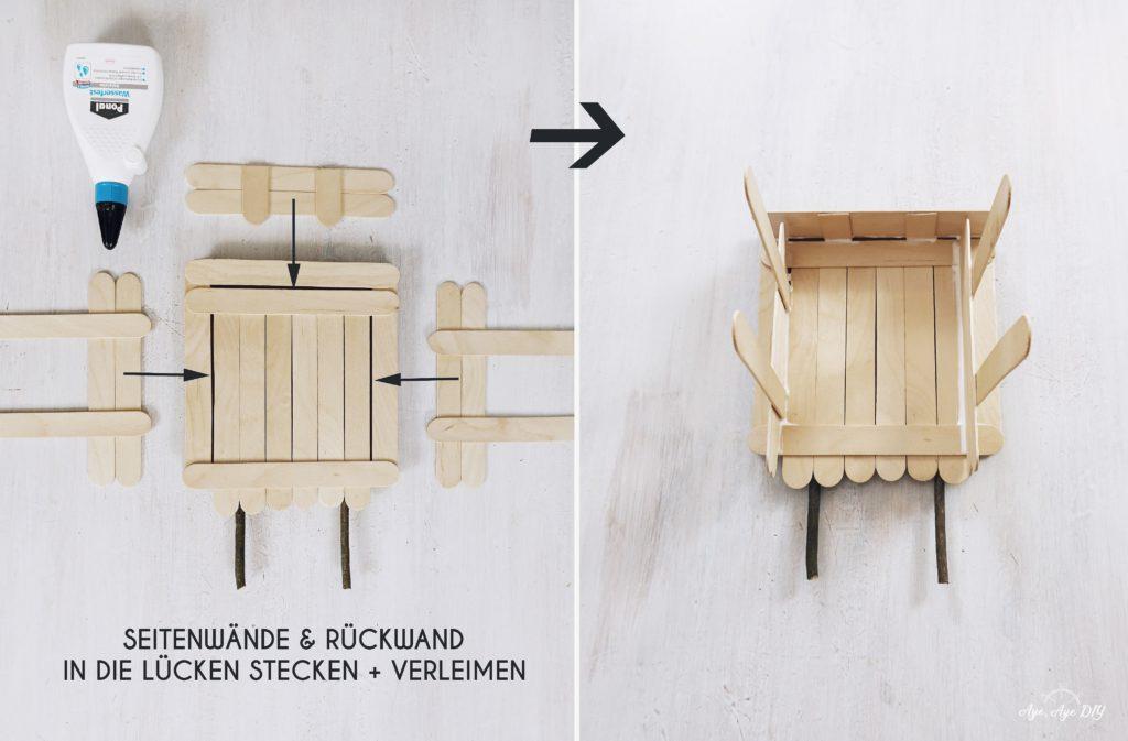Vogelhaus bauen Anleitung einfach: Wände stecken