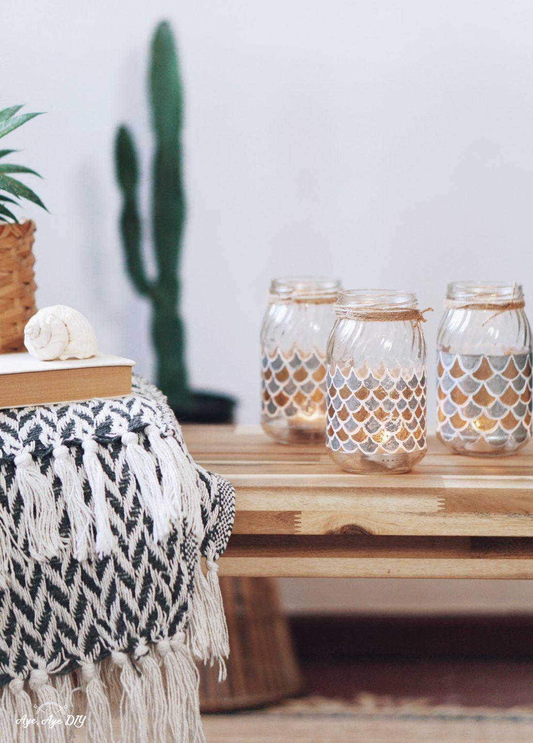 Windlicht Glas selber machen: einfaches DIY Teelicht
