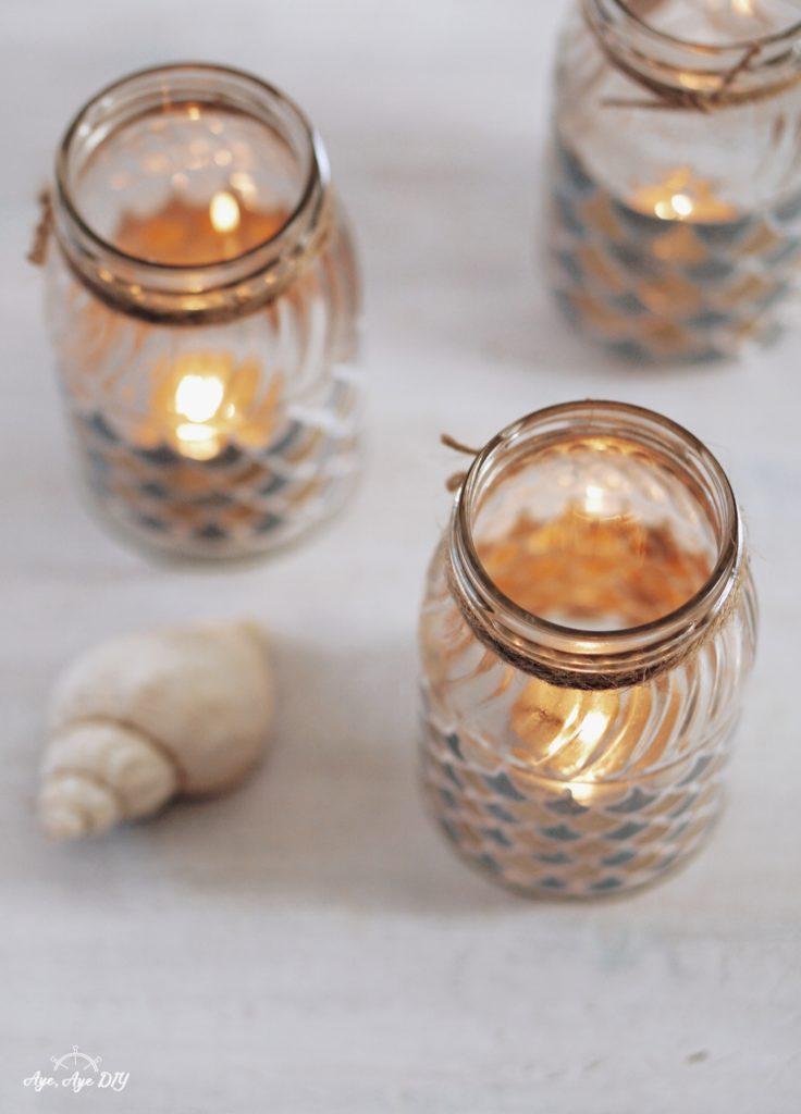maritime Windlicht Gläser selber machen - leuchtende Windlichter mit Teelichter Kerzen