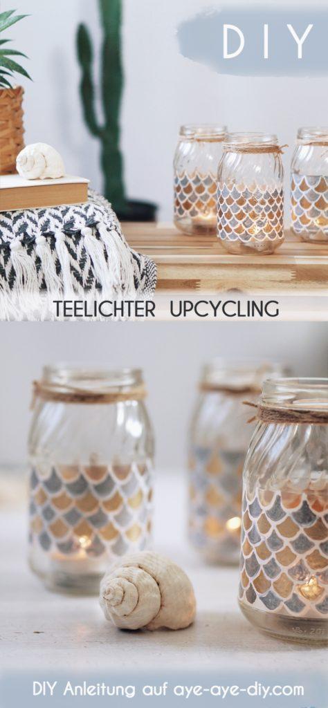 Pinterest Pin: Windlicht basteln aus Glas maritime Deko DIY Teelicht