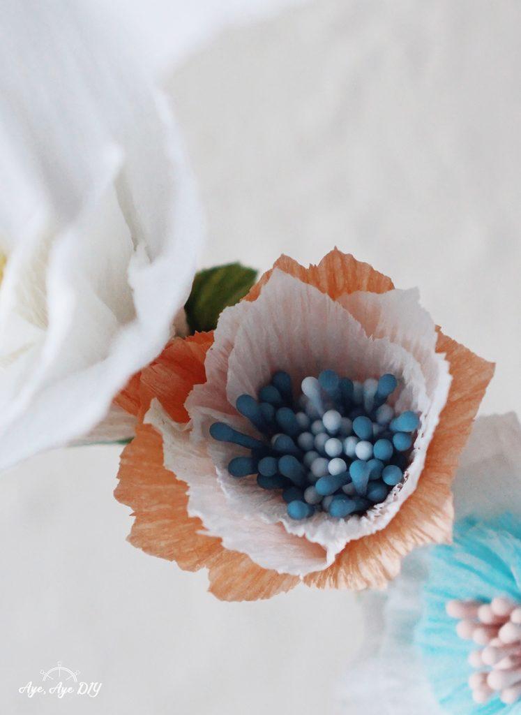 Krepppapier Blumen selber basteln