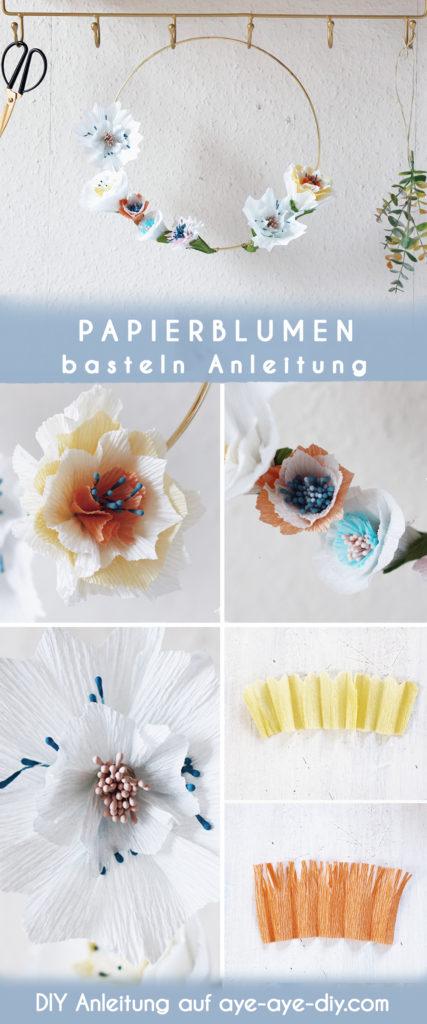 Idee auf Pinterest merken: Papierblumen basteln einfache Vorlagen für Kranz
