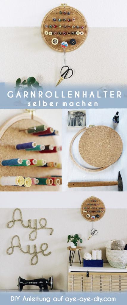 Idee auf Pinterest merken: DIY Garnrollenhalter für die Wand selber machen