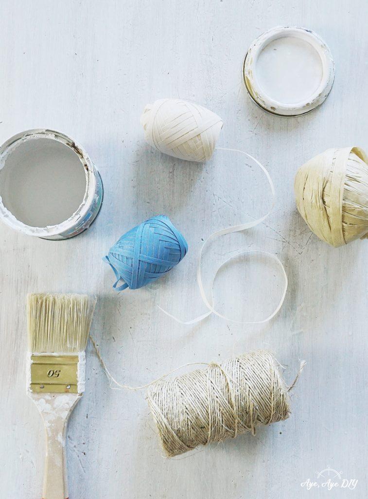 Materialien Sisalschnur, Raffia Garn, Bast und Lack