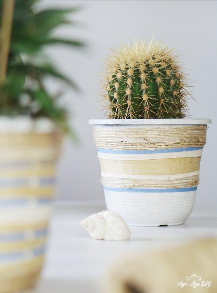 Bast Übertopf: Blumentopf Upcycling - DIY mit Raffia Garn