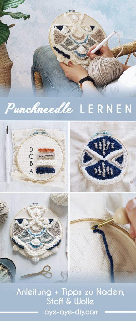 Pinterest Pin: Punch Needle Anleitung mit Vorlagen und Ideen