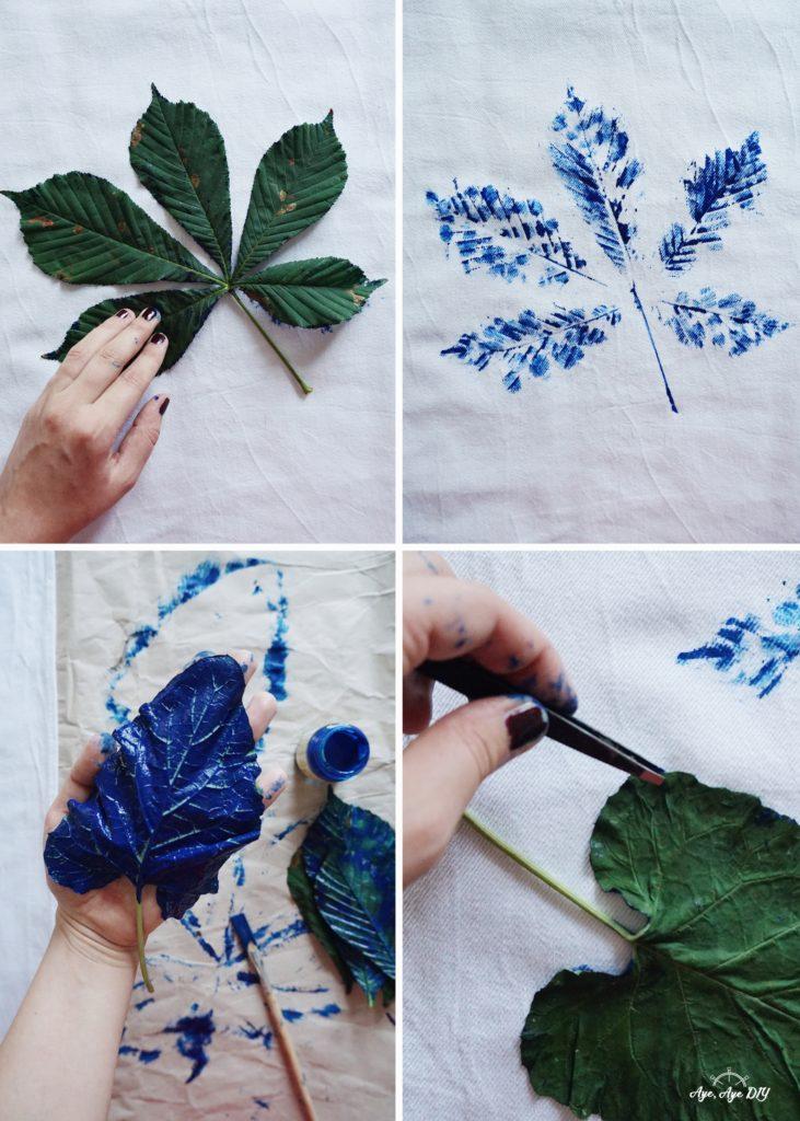 Blätterdruck Technik Anleitung für Abdruck auf Stoff