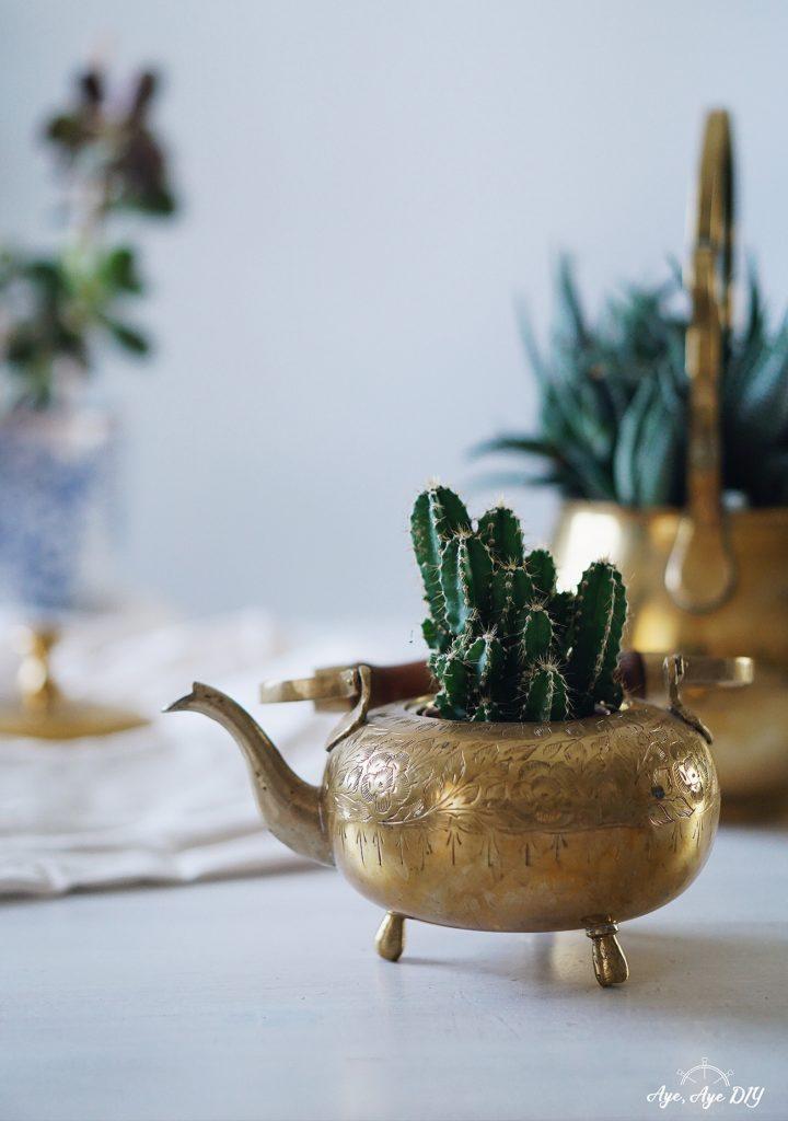 Glücksbringer Geschenk zum Geburtstag beste Freundin: Vintage Wunderlampe Pflanzen Deko