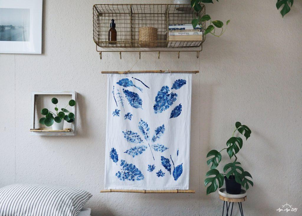 Fertiger Wandbehang: Blätterdruck Technik auf Stoff