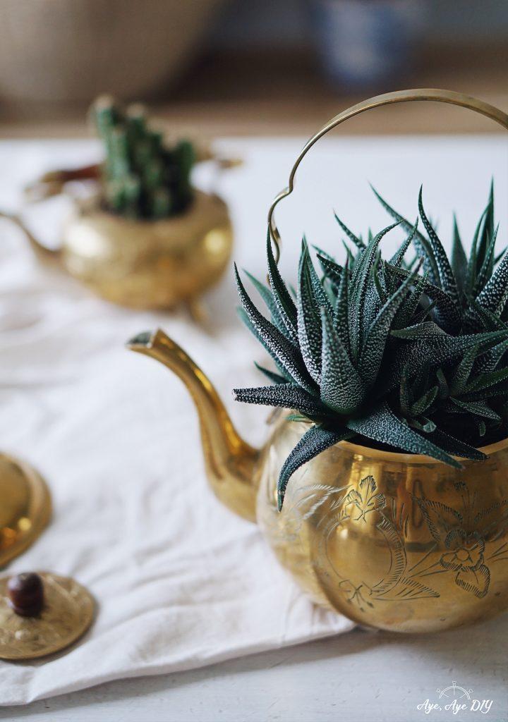 Geschenk zum Geburtstag selber machen: Vintage Geschenk im Boho Style mit Pflanzen